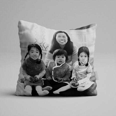 Family with Kids Caricature as Pillow - example