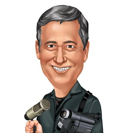 Man with Camera Colored Style Head and Shoulders Caricature Portrait for Custom Cameraman Gift - example