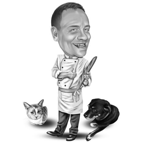 Black and White Owner with Pets Caricature from Photos - example