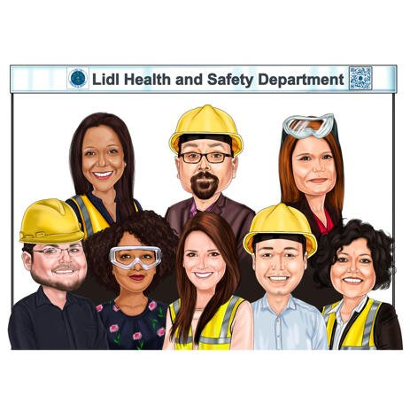 Group Construction Workers Caricature Drawing in Colored Style from Photos - example