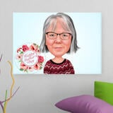 Printed Canvas: Digital Drawing of Cartoon for Mother's Day Gift