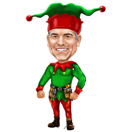 Christmas Caricature from Photos as Christmas Elf - example