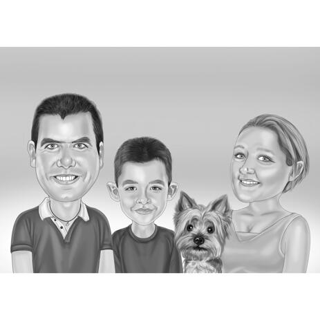Family with Pet Cartoon Portrait in Black and White Style with Background - example