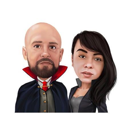 Карикатура пары в образе страшных персонажей на хэллоуин - example