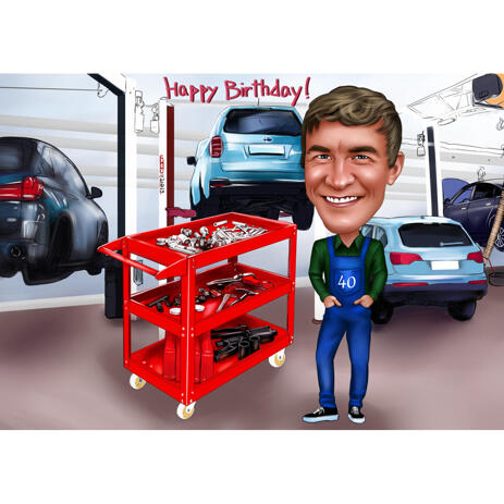 Mechanic Caricature Gift with Personal Birthday Message - example