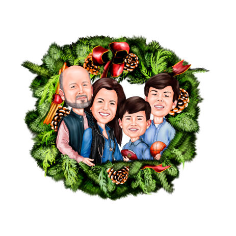 Family with Kids in Christmas Wreath Caricature from Photos - example