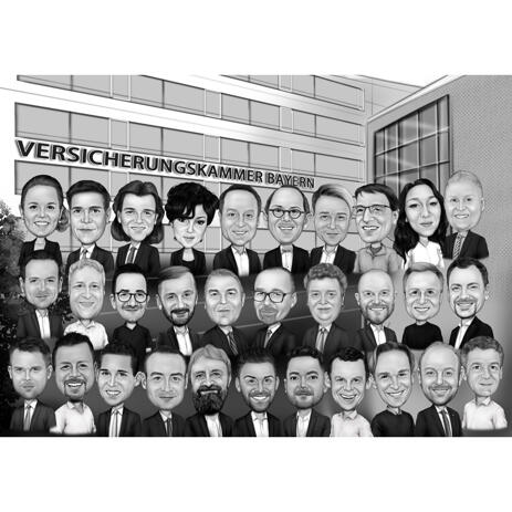 Corporate Group Caricature in Black and White Style with Company Background - example