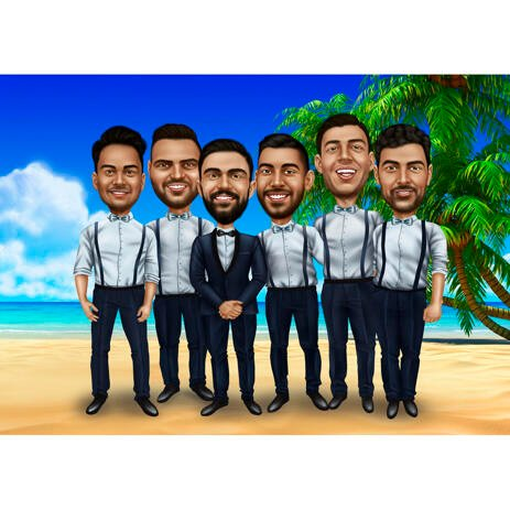 Groomsmen Caricature Gift - Vacation Background - example