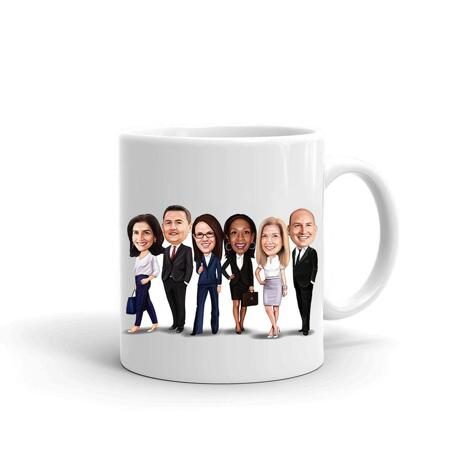 Business Group Caricature on Cofee Mug - example