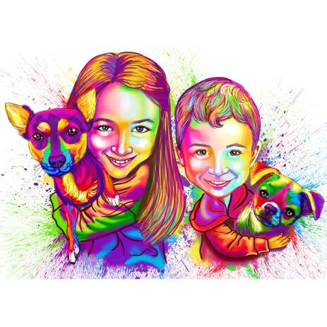 Watercolor Boy and Girl Kids with Pets Caricature Portrait from Photos - example