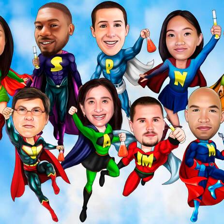 家族カードの写真からのスーパーヒーロー家族の似顔絵 - example