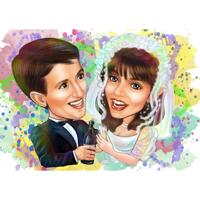 Couple Wedding Watercolor Caricature Gift from Photos