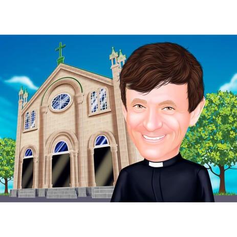 Portrait de dessin animé de pasteur à partir de photos avec fond pour cadeau personnalisé d'appréciation de prêtre - example