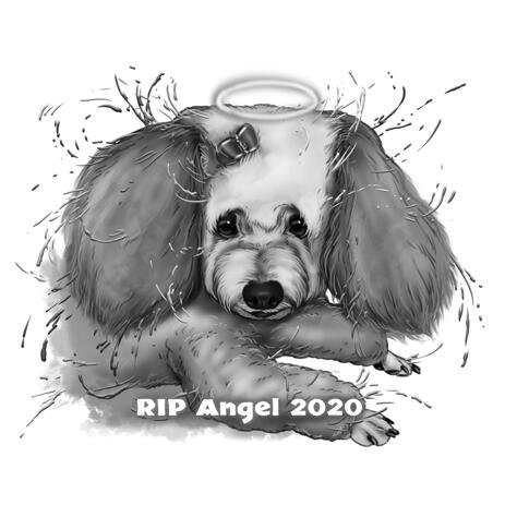 Halo Watercolor Dog Loss Portrait in Black and White Style - example