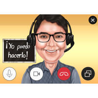 Online-Lehrerkarikatur von Fotos auf farbigem Hintergrund