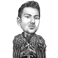 Карикатура на персонажа из фильма Игра престолов в стиле черно-белого карандаша
