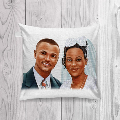 Printed Bride and Groom Caricature on Pillow - example