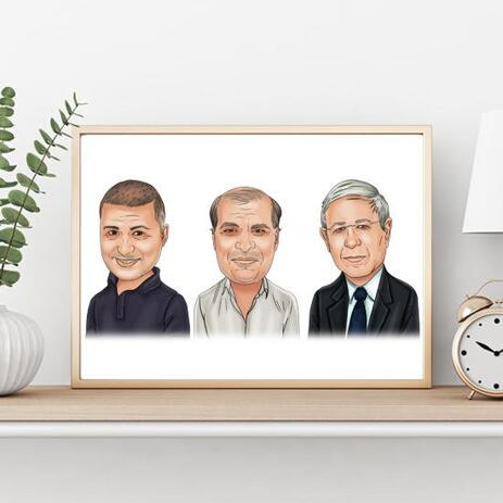Corporate Group Caricature on poster - example