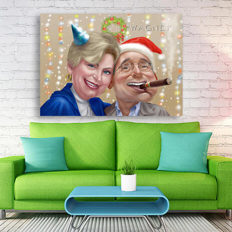 Canvas Print - Funny Christmas Couple Caricature Gift Hand Drawn from Photos - example