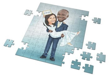 Newlyweds Caricature Drawing as Puzzles