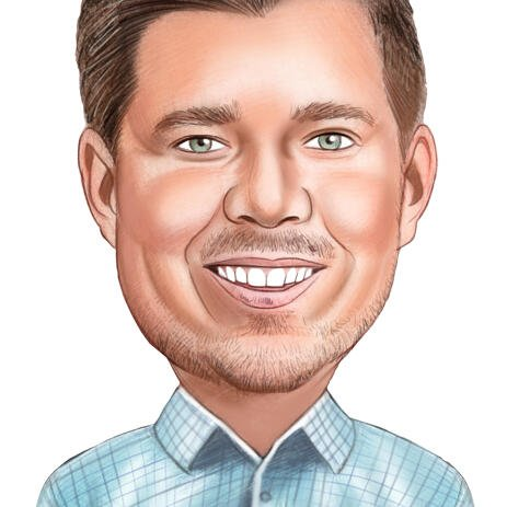 Personalized Caricature from Photo of Employee in Colored Pencils Style - example