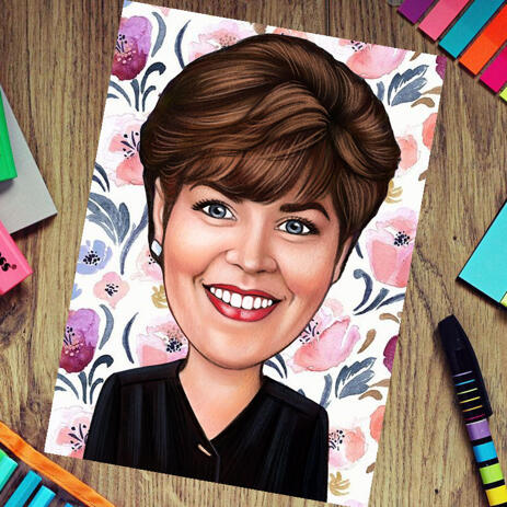 Photo Print: Custom Pencils Drawing of Woman Cartoon from Photo - example