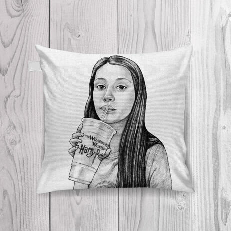 Teen Caricature from Photos as Pillow - example