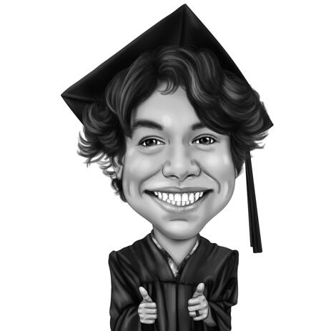 Exaggerated Graduate Caricature in Black and White Style from Photos - example