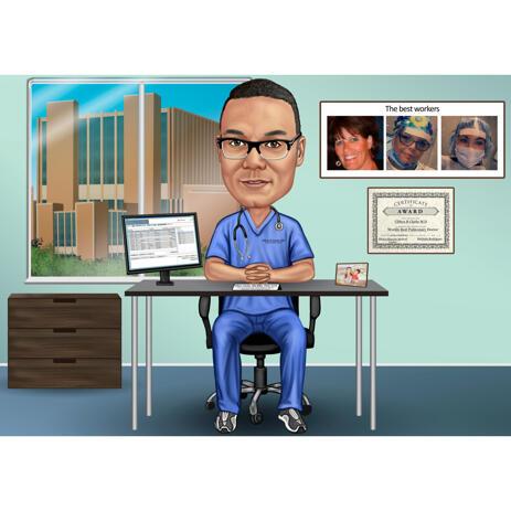 Doctor Cartoon Drawing Custom Gift - Best Specialist Award - example
