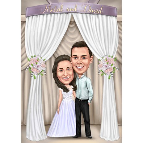 Couple Cartoon Painting in Colored Style with Custom Background for Wedding Invitations Cards - example