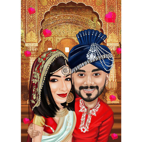 Indian Bollywood Head and Shoulders Couple Drawing Caricature from Photos with Custom Background - example