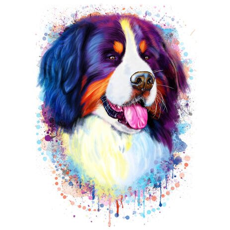Newfoundland Dog Portrait in Rainbow Watercolor Style from Photos - example