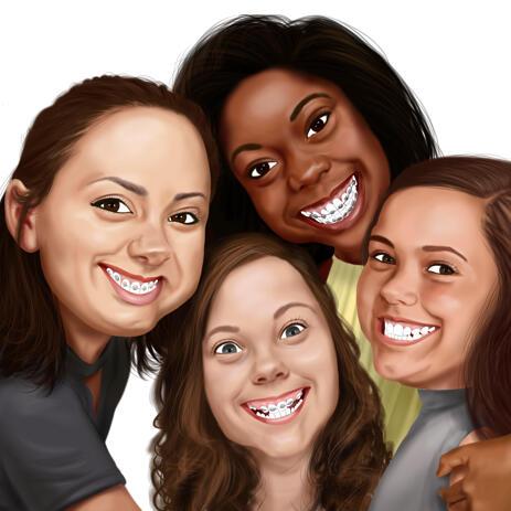 Dessin de portrait de famille en style numérique coloré - example