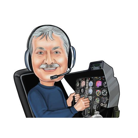 Pilot Caricature from Photos on White Background - example