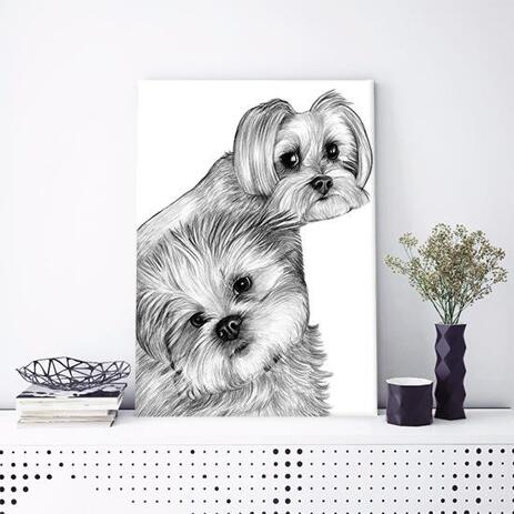 Dogs Caricature Drawing on Canvas - example