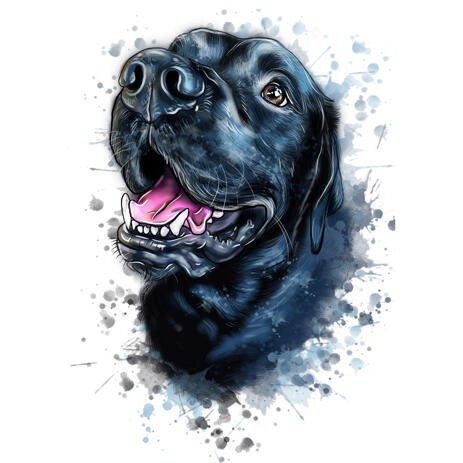 Bluish Natural Watercolor Dog Caricature Drawing from Photos with Splashes in the Background - example