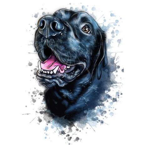 Blåaktig naturlig akvarellhundkarikaturteckning från foton med stänk i bakgrunden - example