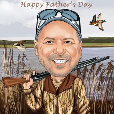 Caricatura de caçador personalizada para presente personalizado - example