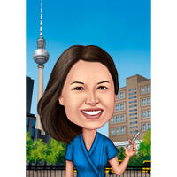 Nurse Caricature Drawing in Color Style on Custom Background