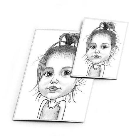 Baby Girl Caricature Printed on Magnet - example