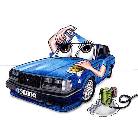 Custom Car Wash Caricature Logo from Photo - example