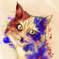 Индивидуальная картина портрета кошки в стиле акварели с фоном