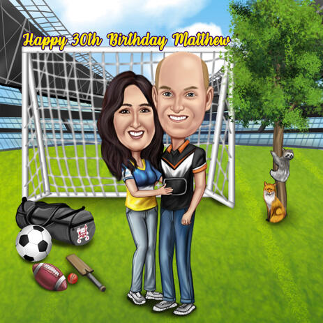 Sport Lovers Couple Full Body Caricature with Custom Background from Photos - example