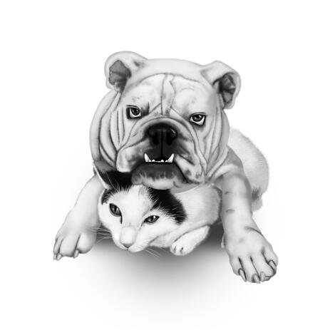 Dog Defender and Cat Cartoon Caricature from Photos in Black and White Style - example