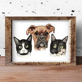 Pets Caricature Poster