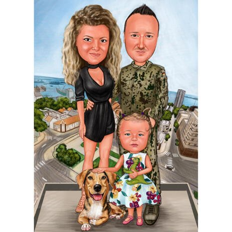 Military Family Caricature from Photos - example