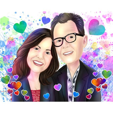 Happy Valentine's Day Couple Caricature with Romantic Watercolor Style Background - example