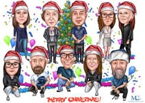 Corporate Christmas Caricature example 7