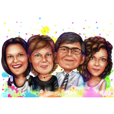 Company Staff Group Caricature in Watercolor Style from Photos - example