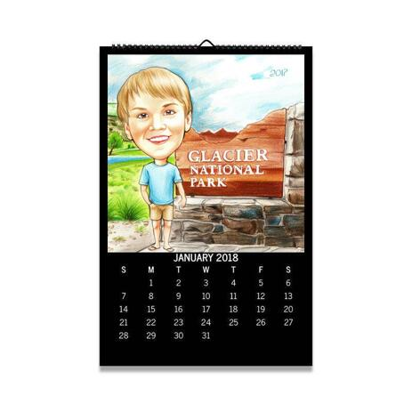 Colored Boy Caricature on Calendar - example